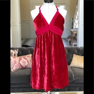 Guess Red Velvety Halter Dress